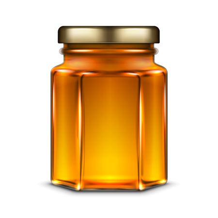 Vector hexagonal glass jar with honey and metal screw cap lid. Realistic template illustration isolated over white background. Vettoriali