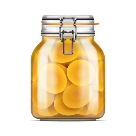 Vector Swing Top Bale Glass Jar with a rubber gasket filled with sliced peaches in juice. Realistic mockup illustration isolated over white background.