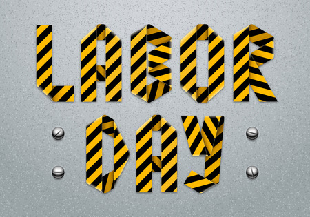 Labor Day lettering design made of caution ribbon with bolt heads on a concrete background. Vector illustration.