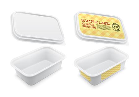 벡터 버터, 녹 인 된 치즈 또는 마가린에 대 한 빈 사각형 컨테이너를 표시합니다. 흰색 배경 위에 격리 된 mockup입니다. 포장 그림을 벡터. 일러스트