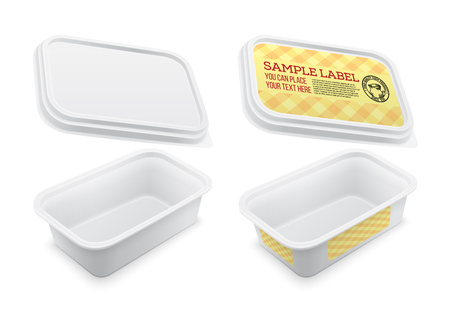 Vector labeled empty square container for butter, melted cheese or margarine spread. Mockup isolated over the white background. Packaging template illustration.