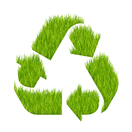 Recycle sign made with green grass. Vector illustration isolated on a white background.