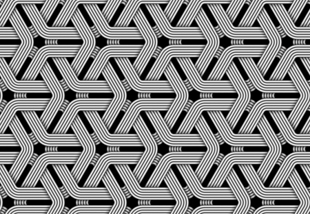 Seamless pattern of weaved fiber. Vector hexagonal repeating geometric illustration.