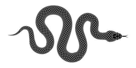 Ilustração de silhueta de cobra. Serpente preta isolada em um fundo branco. Desenho de tatuagem de vetor.