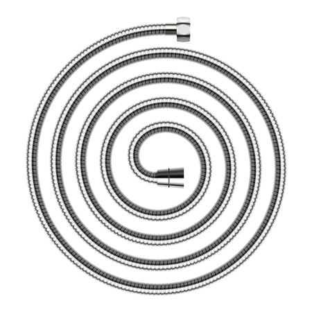 Spiral shaped shower hose with connecting screws isolated on white background. Vector realistic illustration.