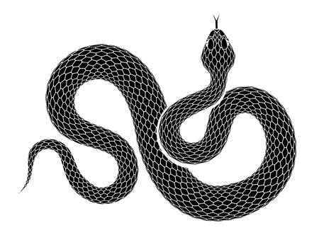 Ilustração de contorno de cobra. Serpente preta isolada em um fundo branco. Desenho de tatuagem de vetor.