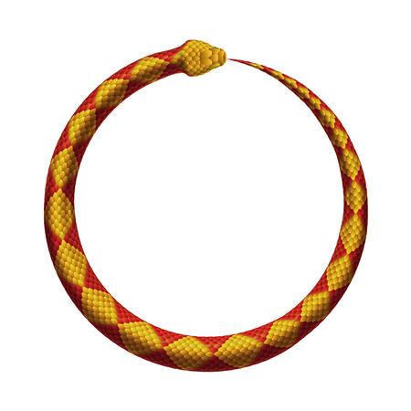 Ouroboros teken. De slang bijt in zijn staart. Realistische vectorillustratie geïsoleerd op een witte achtergrond. Stock Illustratie
