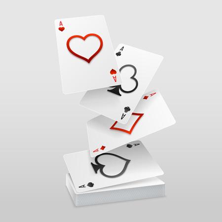 Vector set of four aces playing cards fall on the card deck. Paper art decoration of suits with cutt out symbols.