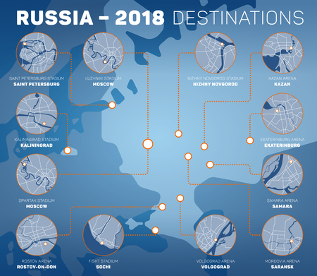 Infographic design representing venues of Russia 2018 football competition. Host cities of soccer tournament vector set of maps. Illustration