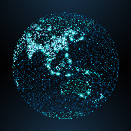 Vector low-poly image of a globe with lights in the form of world cities or population density, consisting points, lines and shapes in form of stars and space. View of Asia.