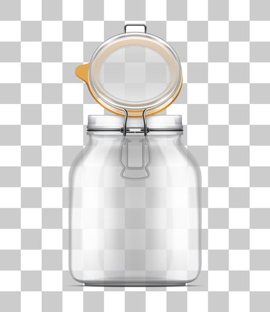 Vector open Swing Top Bale Jar with a rubber gasket isolated on transparent background. Realistic illustration.  イラスト・ベクター素材