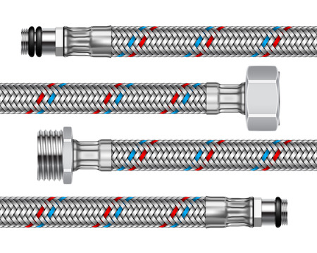 Set of different water fittings and connections with segments of braided hose. 3d realistic illustration isolated on a white background.