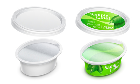 Vector labeled plastic oval container with foil for cosmetics cream, butter or margarine spread. Mockup isolated over a white background. Packaging template illustration.
