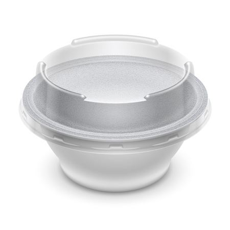 Vector round plastic container with foil and transparent lid for cosmetics cream, yoghurt or jelly. Perspective view isolated over a white background. Packaging mockup illustration. Ilustração
