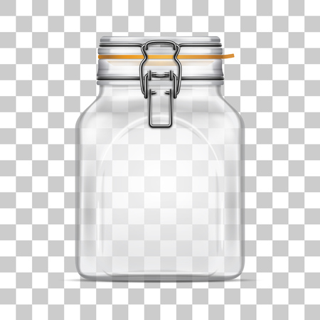 Vector empty Bale Square Glass Jar with Swing Top Lid and a rubber gasket isolated on transparent background. Realistic illustration.