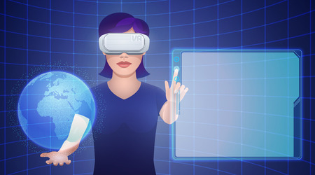 Young pretty woman wearing virtual reality headset or 3d glasses with imaginary globe and empty template screen projection