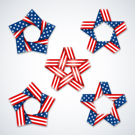 Set of stars made of ribbons with USA flag stars and stripes. Symbol design for american national holidays. Vector illustration  向量圖像