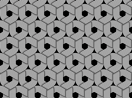 Seamless pattern of braided fiber. Vector hexagonal monochrome striped background. Vettoriali