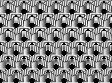 Seamless pattern of braided fiber. Vector hexagonal monochrome striped background. Illustration