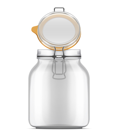 Vector open Swing Top Bale Jar with a rubber gasket isolated over white background. Realistic illustration.