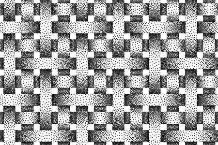 Vector seamless decorative pattern of woven bands. Stipple texture.