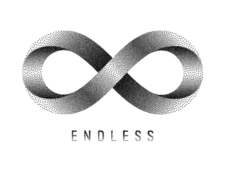 Stippled Endless sign. Mobius strip symbol. Vector textured illustration on white background.