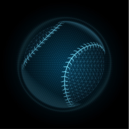 Vector image of a baseball ball made of illuminated shapes. Illustration consisting glowing lines, points and polygons in the form of a ball for softball. Abstract 3D neon wireframe concept. Ilustração