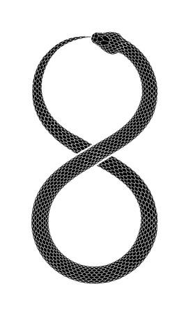Wąż zjada własny ogon w postaci znaku nieskończoności. Projekt tatuażu symbol Ouroboros. Ilustracja wektorowa na białym tle.
