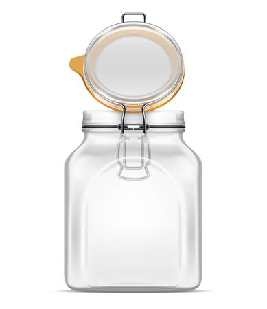 Vector open empty Bale Square Glass Jar with Swing Top Lid and rubber gasket isolated on white background. Realistic illustration. 向量圖像