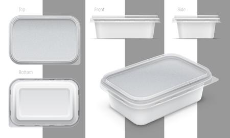 Vektorrechteckiger Plastikbehälter mit Folie und transparentem Deckel für Butter, Joghurt oder geschmolzenen Käse. Satz von oben, unten, vorne, seitlich und perspektivischen Ansichten. Abbildung des Verpackungsmodells.
