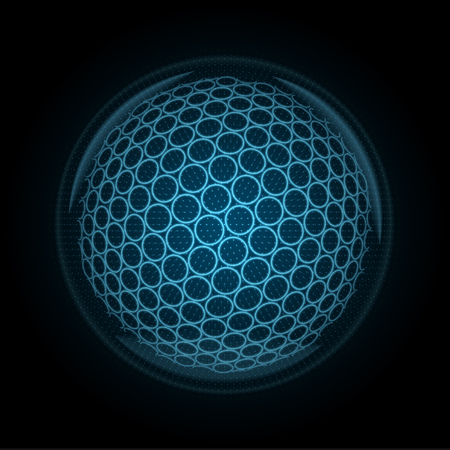 Vector image of a golfball made of illuminated shapes. Illustration consisting glowing lines, points and polygons in the form of a ball for golf. Abstract 3D neon wireframe concept.