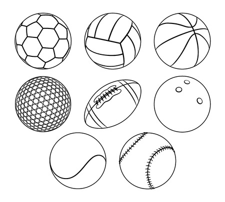 Vector set of outlines different sport balls isolated on a white background. Minimal flat line icons of balls for Soccer, Volleyball, Basketball, Golf, Football, Rugby, Bowling, Tennis, Baseball.