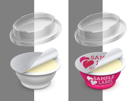 Vector labeled open round plastic container with foil, transparent lid and butter, melted cheese or margarine spread within. Packaging mockup illustration. Illustration