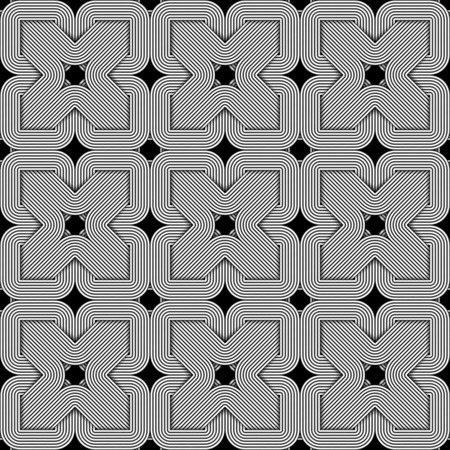 Seamless squared pattern of braided wires. Vector repeating geometric background.