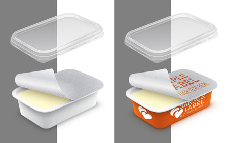Vector labeled open rectangular plastic container with foil, transparent lid and butter, melted cheese or yoghurt within. Packaging mockup illustration. Çizim