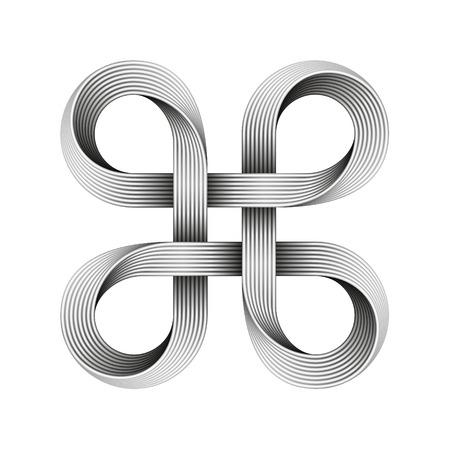 Bowen knot sign made of metal cables. Command key symbol Vektoros illusztráció