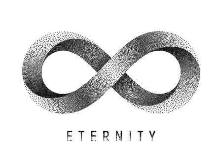 Signe d'éternité pointillé. Symbole de bande de Mobius. Vector illustration texturée sur fond blanc.