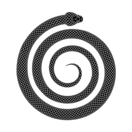 Serpente arrotolato a forma di spirale. Disegno del tatuaggio dell'elica a serpentina. Illustrazione vettoriale isolato su sfondo bianco.