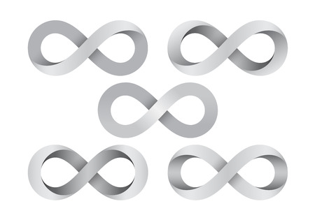 Set of Infinity signs made of different types of torsion. Mobius strip symbols. Vector illustration isolated on a white background. Illusztráció