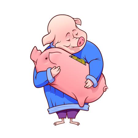 Glückliches fettes Schwein umarmt ein Sparschwein mit goldenen Münzen im Inneren. Vektorillustration lokalisiert auf einem weißen Hintergrund.
