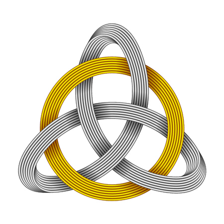Knot Triquetra with circle made of intersected golden and silver strips. Celtic trinity symbol. Vector realistic illustration isolated on white background.
