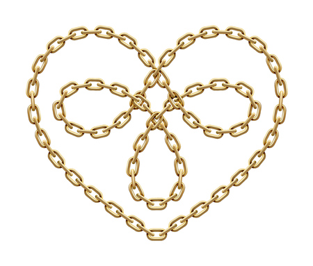Heart symbol with knot as trefoil within made of intersected golden chain. Triple love sign. Vector realistic illustration isolated on white background.