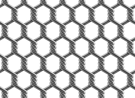 Seamless pattern of hexagonal reinforced chain link fence. Vector illustration of metal wire mesh isolated on a white background. Ilustração