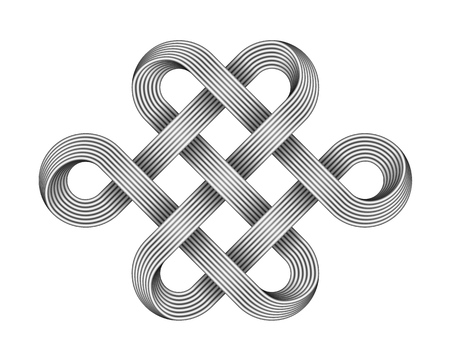 Endless knot made of crossed metal wires. Traditional buddhist symbol. Vector 3d illustration isolated on white background. Vettoriali