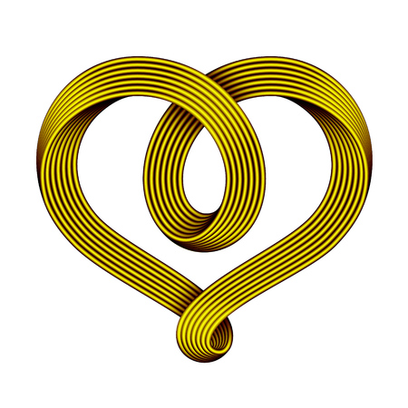 Heart symbol made of golden mobius strip as a celtic knot.. Vector illustration isolated on a white background.