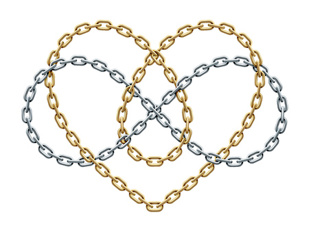 Heart shape and infinity symbol made of intersected golden and silver chains. Forever love sign. Vector realistic illustration isolated on white background.