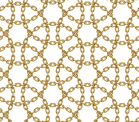 Seamless pattern made of intersected circles of golden chains. Vector realistic illustration isolated on a white background.