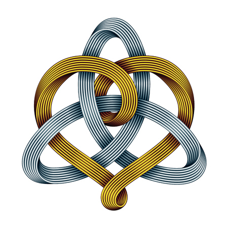 Heart sign interwoven with Triquetra celtic knot made of golden and silver mobius strips. Unity in love symbol. Vector illustration isolated on white background. Vektorové ilustrace