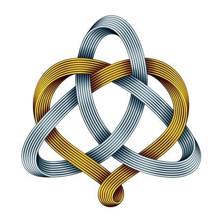 Nudo celta Triquetra con signo de corazón realizado con tiras de mobius doradas y plateadas entrelazadas. Símbolo de amor armónico. Ilustración de vector aislado sobre fondo blanco.
