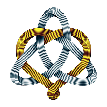 Triquetra celtic knot with heart sign made of intertwined golden and silver mobius strips. Harmonic love symbol. Vector illustration isolated on white background. Vettoriali